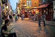 Temple Bar street scene at Dusk, Dublin, Ireland - a vibrant section of the city.