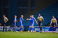 GOAL 4-0 Gillingham Midfielder Olly Lee (11) celebrates his goal with Gillingham FC forward Vadaine Oliver (19), Gillingham FC midfielder Jordan Graham (10) Gillingham FC midfielder Kyle Dempsey (8) during the EFL Sky Bet League 1 match between Gillingham and Crewe Alexandra at the MEMS Priestfield Stadium, Gillingham, England on 26 January 2021.