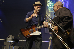 """June 18, 2017 - Worms, Rhineland-Palatinate, Germany - Michael """"Kosho"""" Koschorreck (l) from the band COBODY shakes hand with American jazz musician Fred Wesley (r). COBODY had played as replacement for Fred Wesley who was late for the concert. (Credit Image: © Michael Debets/Pacific Press via ZUMA Wire)"""