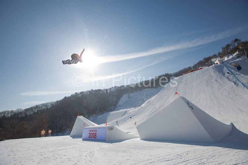 Zoi Sadowski Synnott, New Zealand, during the snowboard slopestyle practice on the 7th February 2018 at Phoenix Snow Park for the Pyeongchang 2018 Winter Olympics in South Korea