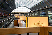 As the UK government urged that all Britons should avoid non-essential travel abroad in order to combat the Coronavirus pandemic in Britain, a Champagne bar offering jeroboams and magnums of Champagne remains without customers on an empty upper concourse at at an unusually quiet concourse in St. Pancras rail station, the London terminus for Eurostar services to mainland Europe, on 17th March 2020, in London, England.