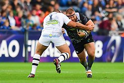 Ospreys' Dimitri Arhip is tackled by Clermont Auvergne's Raphael Chaume - Mandatory by-line: Craig Thomas/JMP - 15/10/2017 - RUGBY - Liberty Stadium - Swansea, Wales - Ospreys Rugby v Clermont Auvergne - European Rugby Champions Cup