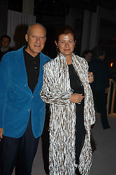 LORD & LADY FOSTER at an exhibition of work by Rolf Sachs - a unique world-renowned contemporary furniture designer, held in association with the Louisa Guinness Gallery and held at 250 Brompron Road, London on 6th October 2004.<br />