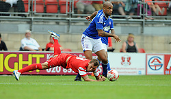 Leyton Orient's Gary Sawyer tussles for the ball with Ipswich Town's David McGoldrick - photo mandatory by-line David Purday JMP- Tel: Mobile 07966 386802 02/08/14 - Leyton Orient v Ipswich Town - SPORT - FOOTBALL - Pre season - London -  Matchroom Stadium