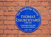 Blue wall plaque Thomas Churchyard 1798-1865, Woodbridge, Suffolk, England, UK The Woodbridge Society