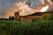 Medieval abbey surrounded by vegetation at sunset, 8th August 2008, Lagrasse, France.