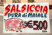 Butcher shop sign in Capo Market, Palermo, Sicily, Italy.(Supporting image from the project Hungry Planet: What the World Eats)