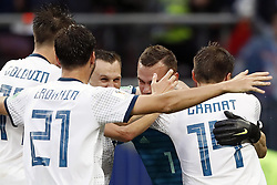 (L-R) Aleksandr Golovin of Russia, Aleksandr Erokhin of Russia, Denis Cheryshev of Russia, goalkeeper Igor Akinfeev of Russia, Vladimir Granat of Russia during the 2018 FIFA World Cup Russia round of 16 match between Spain and Russia at the Luzhniki Stadium on July 01, 2018 in Moscow, Russia