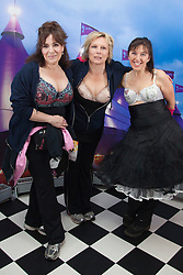 """© Licensed to London News Pictures. 12/05/2012. London, England. L-R: actress Harriet Thorpe, actress Jennifer Saunders and Nina Barough, founder and CEO of Walk the Walk. Members of Jen's Big Tits Team. The MoonWalk London 2012, Celebrating 15 years of Moon Walking for the breast cancer charity """"Walk the Walk"""". Photo credit: Bettina Strenske/LNP"""