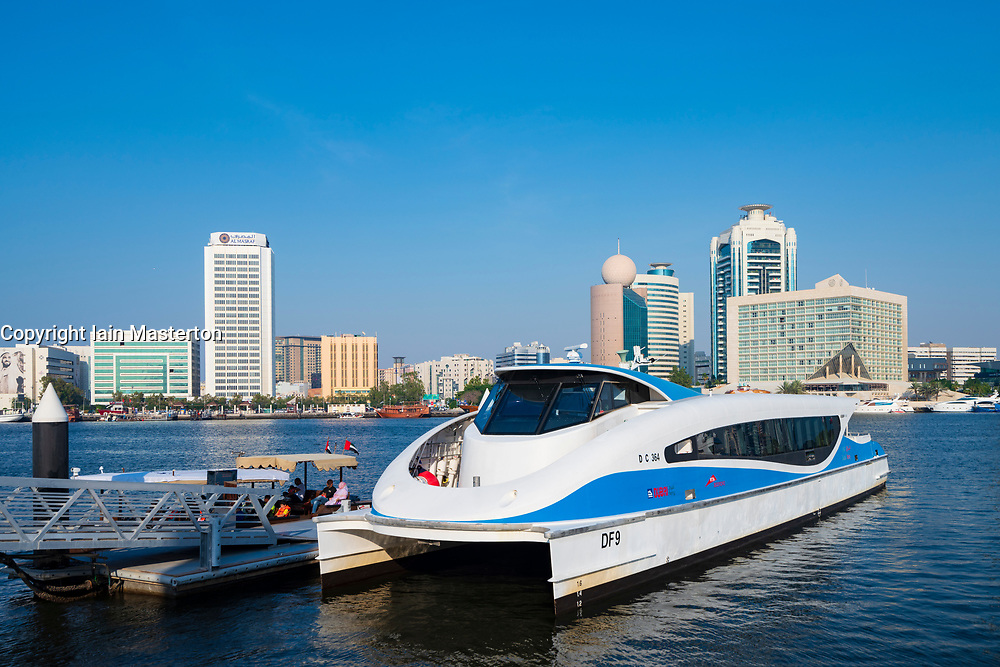 Water bus station at  Al Seef promenade with modern restaurants and cafes adjacent to new heritage district beside The Creek waterside in Dubai, United Arab Emirates