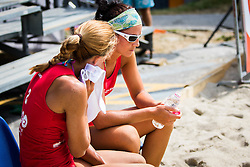 Ana Skarlovnik of team Ana in Jelena and Jelena Pesic of team Ana in Jelena during Qlandia Beach Challenge 2015 and Beach Volleyball Slovenian National Championship 2015, on July 25, 2015 in Kranj, Slovenia. Photo by Ziga Zupan / Sportida