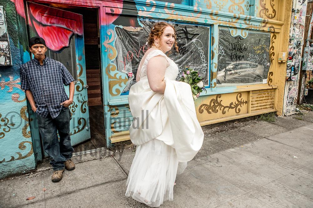 Bride on NE Alberta Street, Portland, Oregon.