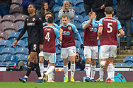 Burnley celebrate as Burnley forward Chris Wood (11) scores a goal from the penalty spot 1-0 during the The FA Cup 3rd round match between Burnley and Barnsley at Turf Moor, Burnley, England on 5 January 2019.
