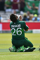 Cricket - 2019 ICC Cricket World Cup - Group Stage: Pakistan vs. Bangladesh<br /> <br /> mam-ul-Haq kneels & celebrates his 100 in a prayer position <br /> at Lord's<br /> <br />  colorsport/winston bynorth