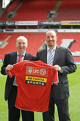 Liverpool, England - Thursday, September 27, 2007: Co-Founder of Setanta Sports Mickey O'Rorke and Liverpool manager Rafael Benitez  at the launch of the Official Liverpool FC television channel on Setanta Sports at Anfield. (Photo by David Rawcliffe/Propaganda)..For more details regarding LFC TV please contact Jo Crump or Steven Hartley at LiverpoolFC.TV jo,crump@liverpoolfc.tv / steven.hartley@liverpoolfc.tv