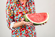 Woman with watermelon slice