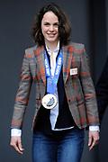 Officiele Huldiging van de Olympische medaillewinnaars Sochi 2014 / Official Ceremony of the Sochi 2014 Olympic medalists.<br /> <br /> Op de foto:  Marrit Leenstra