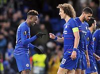 Football - 2018 / 2019 UEFA Europa League - Round of Sixteen, First Leg: Chelsea vs. Dynamo Kiev<br /> <br /> Callum Hudson- Odoi of Chelsea celebrates scoring goal no 3, with David Luiz at Stamford Bridge.<br /> <br /> COLORSPORT/ANDREW COWIE