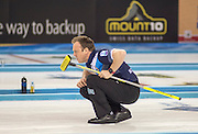 """Glasgow. SCOTLAND.  Scotland, """"Skip"""" Tom BREWSTER, during a """"Round Robin"""" Game. Le Gruyère European Curling Championships. 2016 Venue, Braehead  Scotland<br /> Tuesday  22/11/2016<br /> <br /> [Mandatory Credit; Peter Spurrier/Intersport-images]"""