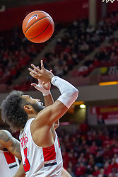 NORMAL, IL - February 16: Keyshawn Evans reaches for a loose ball during a college basketball game between the ISU Redbirds and the Bradley Braves on February 16 2019 at Redbird Arena in Normal, IL. (Photo by Alan Look)