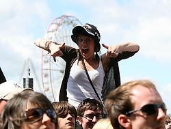 Fans of the The Cribs, the opening act on the main stage at T in the Park, Sunday 8 July 2007..T in the Park festival took place on the 6th, 7th and 8 July 2007, at Balado, near Kinross in Perth and Kinross, Scotland. This was the first time the festival had been held over three days..Pic Michael Schofield. All Rights Reserved..