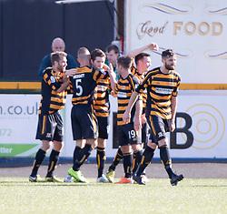 Alloa Athletic 2 v 1 Hibernian, Scottish Championship game played 30/8/2014 at Alloa Athletic's home ground, Recreation Park, Alloa.