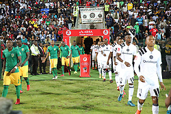 17032018 (Durban)  Golden Arrows and Orlando Pirates team players when Orlando Pirates walloped Golden Arrows 2-1 at the ABSA premier league encounter at Princess Magogo Staduim, in Kwa-Mashu, Durban. Pirates has advance their league position to number 2 with 41 points after Sundowns with 42 points lead.<br /> Picture: Motshwari Mofokeng/African New Agency/ANA