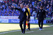 Reading manager Nigel Adkins shouts instructions to his team. Barclays Premier league, Reading v Southampton at the Madejski stadium in Reading on Saturday 6th April 2013. pic by Andrew Orchard, Andrew Orchard sports photography,