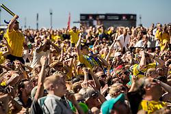 July 3, 2018 - Helsingborg/Landskrona, SVERIGE - 180703  Supportrar fÅ¡ljer matchen mellan Sverige och Schweiz pÅ' en storbildskÅrm pÅ' grÅ¡ningen under dag 2 av SM-veckan den 3 juli 2018 i Helsingborg/Landskrona  (Credit Image: © Mathilda Ahlberg/Bildbyran via ZUMA Press)
