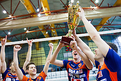 Ales Fabjan of ACH, Milan Rasic of ACH and Andrej Flajs of ACH celebrate after winning the volleyball match between Calcit Volleyball and ACH Volley in 4th Final Round of Radenska Classic League 2012/13 on April 16, 2013 in Arena Kamnik, Slovenia. ACH Volley defeated Calcit Kamnik in games 3-1 and became Slovenian National Champion 2013.(Photo By Vid Ponikvar / Sportida)