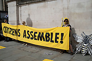 Protesters at Extinction Rebellion gather for a citizens assembly on 5th September 2020 in London, United Kingdom. With government resitting after summer recess, the climate action group has organised two weeks of events, protest and disruption across the capital. Extinction Rebellion is a climate change group started in 2018 and has gained a huge following of people committed to peaceful protests. These protests are highlighting that the government is not doing enough to avoid catastrophic climate change and to demand the government take radical action to save the planet.