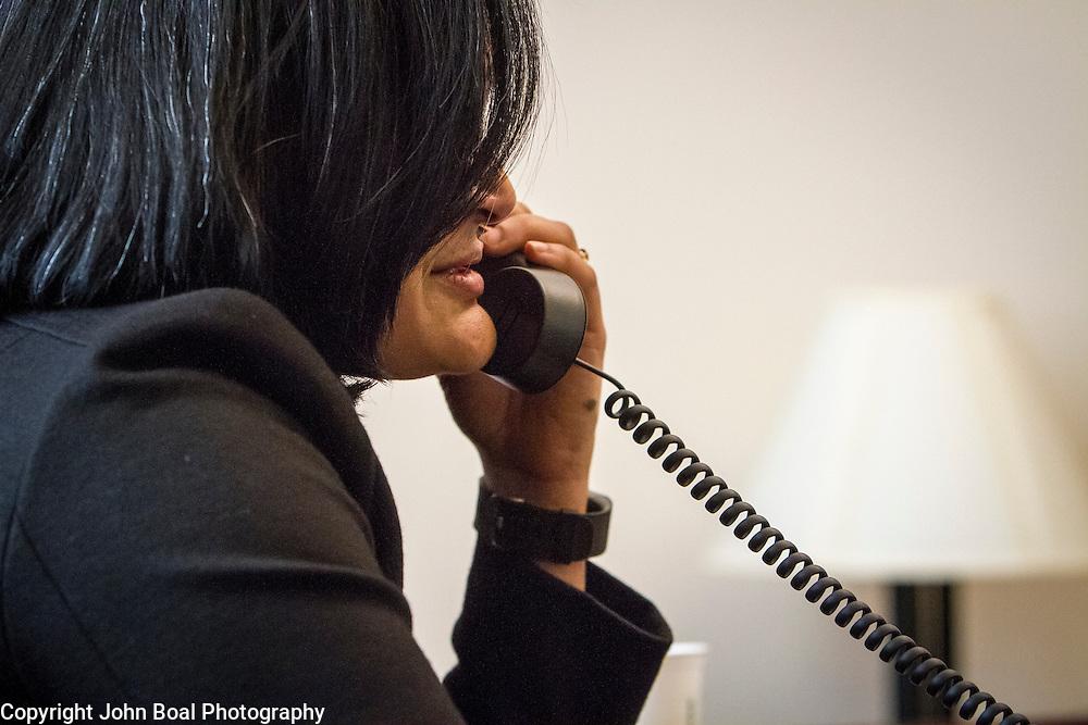 Representative Pramila Jayapal (D-WA, 7) does a phone interview with KOMO Radio, a local Seattle radio station, on Tuesday, January 31, 2017.  John Boal photo/for The Stranger
