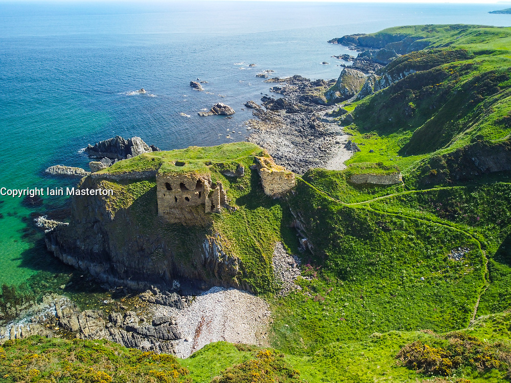 Aerial view from drone of ruins of Findlater Castle on Moray Firth in Aberdeenshire, Scotland, Uk