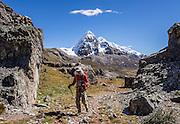 Nevado Trapecio (5653 m) rises above Portachuelo de Huayhuash pass (4780 m). Day 4 of 9 days trekking around the Cordillera Huayhuash in the Andes Mountains, Peru, South America.