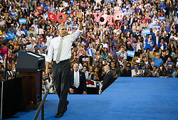 October 28, 2016 - Florida, U.S. - LOREN ELLIOTT   |   Times .President Obama speaks at a Hillary Clinton campaign rally at the University of Central Florida in Orlando on Friday, Oct. 28, 2016. He encouraged voters to cast their ballots early. (Credit Image: © Loren Elliott/Tampa Bay Times via ZUMA Wire)