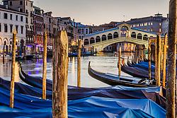 Docked Gondolas on the Grand Canal in Venice Italy.