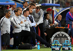 England manager Gareth Southgate (centre) looks on from the team dugout during the FIFA World Cup 2018, round of 16 match at the Spartak Stadium, Moscow.