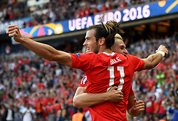 Gareth Bale of Wales celebrates the goal with Aaron Ramsey of Wales  - Mandatory by-line: Joe Meredith/JMP - 25/06/2016 - FOOTBALL - Parc des Princes - Paris, France - Wales v Northern Ireland - UEFA European Championship Round of 16