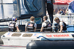 June 21, 2017 - Bermudes, USA - The Great Sound, Bermuda, 18th June. Oracle Team USA sailors Louis Sinclair (ATG), Kyle Langford (AUS), Kinley Fowler (AUS) and Tom Slingsby (AUS) after their fourth loss in a row to Emirates Team New Zealand. Day two of the America's Cup. (Credit Image: © Panoramic via ZUMA Press)