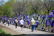 Visitors to Paisley Park pay homage to Prince at the memorial fence at Paisley Park studios. Chanhassen Minnesota MN USA