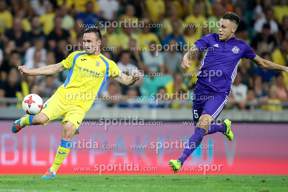 Tilen Klemencic of NK Domzale and Lucas Ocampos of Olympic Marseille during football match between NK Domzale and Olympique de Marseille in First game of UEFA Europa League playoff round, on August 17, 2017 in SRC Stozice, Ljubljana, Slovenia. Photo by Morgan Kristan / Sportida