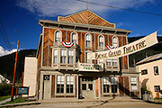 The Palace Grand Theatre in the historic gold rush town of Dawson City, Yukon Territory, Canada.