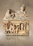 Etruscan Hellenistic style cinerary, funreary, urn , inv no 5774,  National Archaeological Museum Florence, Italy .<br /> <br /> If you prefer to buy from our ALAMY PHOTO LIBRARY  Collection visit : https://www.alamy.com/portfolio/paul-williams-funkystock - Scroll down and type - Etruscan Florence - into LOWER search box. (TIP - Refine search by adding a background colour as well).<br /> <br /> Visit our ETRUSCAN PHOTO COLLECTIONS for more photos to download or buy as wall art prints https://funkystock.photoshelter.com/gallery-collection/Pictures-Images-of-Etruscan-Historic-Sites-Art-Artefacts-Antiquities/C0000GgxRXWVMLyc