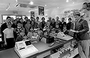 Ambrose O'Donovan at the opening of Burgerland in 1992<br /> Killarney Now & Then - MacMONAGLE photo archives.<br /> Picture by Don MacMonagle -macmonagle.com<br /> Facebook - @killarneynowandthen
