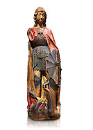Gothic terracotta statue of the Archangel Gabriel attributed to Lorenzo Mercadante de Bretanya of Seville, circa 1460, from the convent of Santa Clara de Fregenal de la Sierra, Badajoz..  National Museum of Catalan Art, Barcelona, Spain, inv no: MNAC  4367. Against a white background. .<br /> <br /> If you prefer you can also buy from our ALAMY PHOTO LIBRARY  Collection visit : https://www.alamy.com/portfolio/paul-williams-funkystock/gothic-art-antiquities.html  Type -     MANAC    - into the LOWER SEARCH WITHIN GALLERY box. Refine search by adding background colour, place, museum etc<br /> <br /> Visit our MEDIEVAL GOTHIC ART PHOTO COLLECTIONS for more   photos  to download or buy as prints https://funkystock.photoshelter.com/gallery-collection/Medieval-Gothic-Art-Antiquities-Historic-Sites-Pictures-Images-of/C0000gZ8POl_DCqE