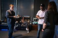 May 12, 2021. Sherman Oaks, California. Hollywood Casting Director, Matthew Barry, at his Sherman Oaks studio. Pictured is Mattew working with  (L-R) Kola Olasiji and Adam William Zastrow.<br /> copyright John Chapple / www.JohnChapple.com