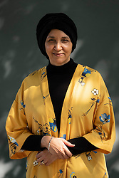 """Edinburgh, Scotland, UK; 15 August, 2018. Pictured; Author  Leila Aboulela. Her book """" Elsewhere, Home"""", is a collection featuring men and women attempting to steer their course in a hostile world."""