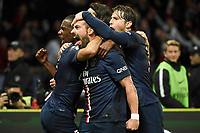 Brazilian midfielder Lucas of Paris Saint Germain celebrates scoring the 1st goal for his team with team mates during the French Championship Ligue 1 football match between Paris Saint Germain and Olympique de Marseille on November 9, 2014 at Parc des Princes stadium in Paris, France. Photo Jean Marie Hervio / Regamedia / DPPI