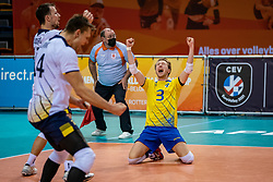 Joel Andersson of Sweden in action during the CEV Eurovolley 2021 Qualifiers between Sweden and Croatia at Topsporthall Omnisport on May 15, 2021 in Apeldoorn, Netherlands