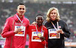 Kenya's Conseslus Kipruto (gold), Morocco's Soufiane Elbakkali (silver) and USA's Evan Jager with their medals for the Men's 3000m Steeplechase during day six of the 2017 IAAF World Championships at the London Stadium. PRESS ASSOCIATION Photo. Picture date: Wednesday August 9, 2017. See PA story ATHLETICS World. Photo credit should read: Martin Rickett/PA Wire. RESTRICTIONS: Editorial use only. No transmission of sound or moving images and no video simulation